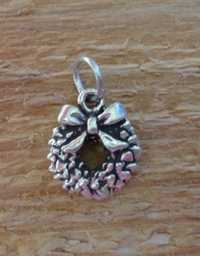 11x11mm Small Wreath Holiday Christmas Sterling Silver Charm