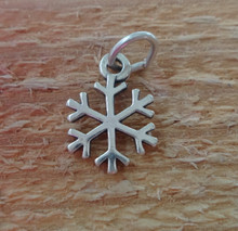 12mm Small Snowflake Holiday Christmas Sterling Silver Charm