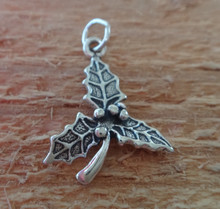 18x25mm Holly 3 Leaf Holiday Christmas Sterling Silver Charm