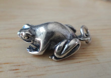 3D 12x18mm Sterling Silver Medium Sized Smooth 3D Frog Toad Charm!