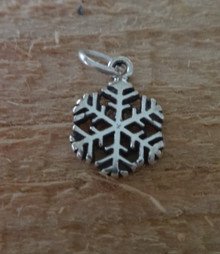 Small 12 mm Snowflake Sterling Silver Charm