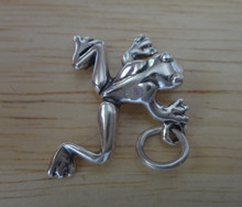 20x23mm Sterling Silver Smooth Open Legged Jumping Frog Charm