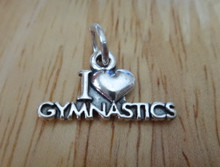 19x9mm says I Love (Heart) Gymnastics Sterling Silver Charm!