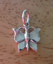 12x13mm Small Detailed Butterfly Sterling Silver Charm!