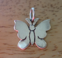 14x12mm Small Flat Butterfly Sterling Silver Charm!