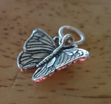 15x17mm Small 3D Monarch Butterfly Sterling Silver Charm!