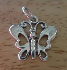15x17mm Small Fancy Butterfly Sterling Silver Charm!