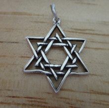 18x23mm Double Open Star of David Sterling Silver Charm
