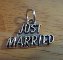 20x14mm says Just Married Wedding Sterling Silver Charm