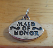 19x15mm heavy solid Oval Wedding Maid of Honor Sterling Silver Charm