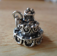 11x11mm Wedding Cake with Bride & Groom top Sterling Silver Charm