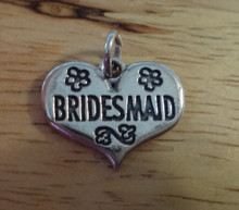 21x17mm Bridesmaid Heart with Flowers Wedding Sterling Silver Charm
