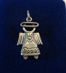 Angel with Halo and Heart Sterling Silver Charm!