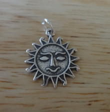 Smiling Sun Face Sterling Silver Charm!
