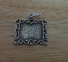 Detailed Picture Frame w/ Hearts Sterling Silver Charm