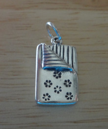 Solid 4.5 gram says Slumber Party Sleeping Bag Sterling Silver Charm