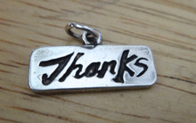 20x11mm says Thanks Sterling Silver Charm!