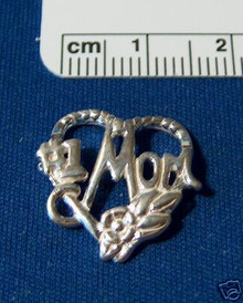 #1 Mom in a Heart with Flowers Sterling Silver Charm!
