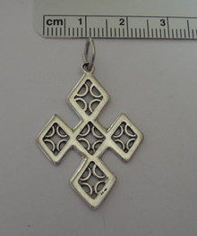 Unusually Shaped Cross Sterling Silver Pendant Charm