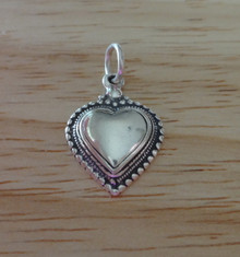 3D Heart within a Heart with Balls Sterling Silver Charm!