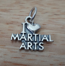 17x15mm I Love (Heart) Martial Arts Sterling Silver Charm!
