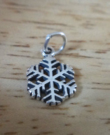 X-Small 10mm Snowflake Holiday Christmas Sterling Silver Charm!