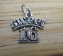 Small 15x10mm Sweet 16/16th Birthday Sterling Silver Charm!