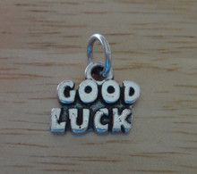 12x14mm says Good Luck Sterling Silver Charm