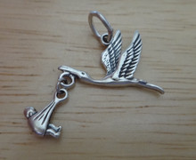 23x23mm Movable Stork Carrying a Baby Sterling Silver Charm