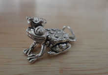 3D 10x19mm Sterling Silver Frog Prince Crown Princess Charm