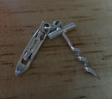 3D 25x12mm Movable Bottle Opener and Corkscrew Wine Sterling Silver Charm