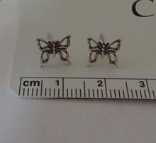 8x8mm Small Butterfly Open Stud Sterling Silver Earrings!