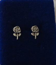 5x10mm Flower Long Stem & Rose Stud Sterling Silver Earrings!
