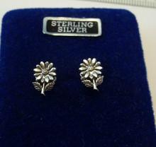 8x10mm TINY Daisy or Zinnia Flower Sterling Silver Stud Earrings!