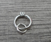 Tiny 10x12mm Solitaire Engagement Ring Sterling Silver Charm