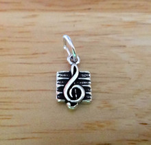Tiny 12x7mm Treble Clef on Staff Music Sterling Silver Charm