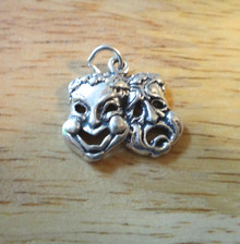 20x17mm Fancy Large Comedy and Tragedy Theater Sterling Silver Charm