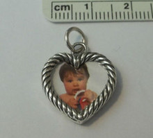 Miniature 2 Picture Heart Frame Sterling Silver Charm