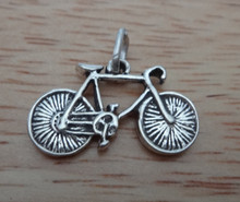 3D 19x12mm Bicycle Bike Sterling Silver Charm