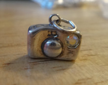 Camera Photography Photos with CZ flash Sterling Silver Charm