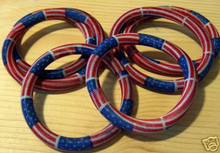 6 Patriotic 4th of July Red, White, Blue Wire Bracelets