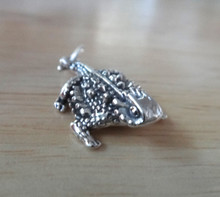 Sterling Silver 15x25mm 3D TCU Texas Horned Toad Frog Charm
