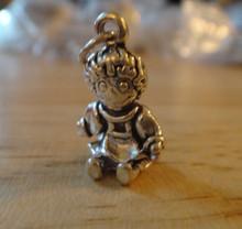Solid heavy 5 gram Raggedy Ann Rag Doll Sterling Silver Charm!