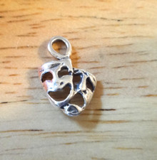 10x14mm Tiny Comedy and Tragedy Theater Sterling Silver Charm