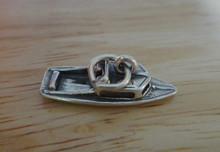 3D 24x9mm Ski Speed Boat Sterling Silver Charm