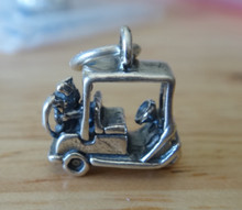 14x14x7mm 3D Golf Cart with Clubs in the back Sterling Silver Charm