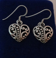 Cut Out Lace Heart Sterling Silver Wire Earrings