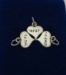 We're Best Friends Heart 3 charms in 1 Sterling Silver Charm