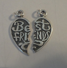 23x19mm Best Friends Heart 2 charms in 1 Sterling Silver Charm