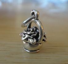 3D 12x7mm Flowers in a Basket Flower Girl Sterling Silver Charm